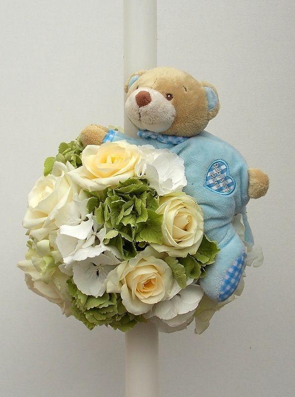 Lumanare Hortensie Trandafiri Si Jucarie Ursulet Floraria Alceva