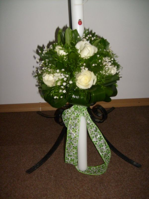 Lumanare Botez Cu Trandafiri Glob Floraria Alcevaro Din Pitesti